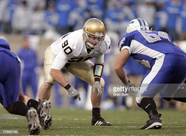 John Ryan of the Notre Dame Fighting Irish gets ready to move on the line during the game against the Air Force Falcons on November 11 2006 at Falcon...