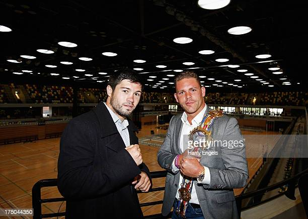 John Ryder and Billy Joe Saunders face off for a photograph prior to a press conference organised by boxing promoter Frank Warren at The Copper Box...