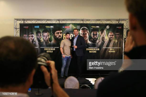 John Ryder of England pose for a photo with boxing promoter Eddie Hearn during a press conference at The Courthouse Hotel on September 13 2018 in...