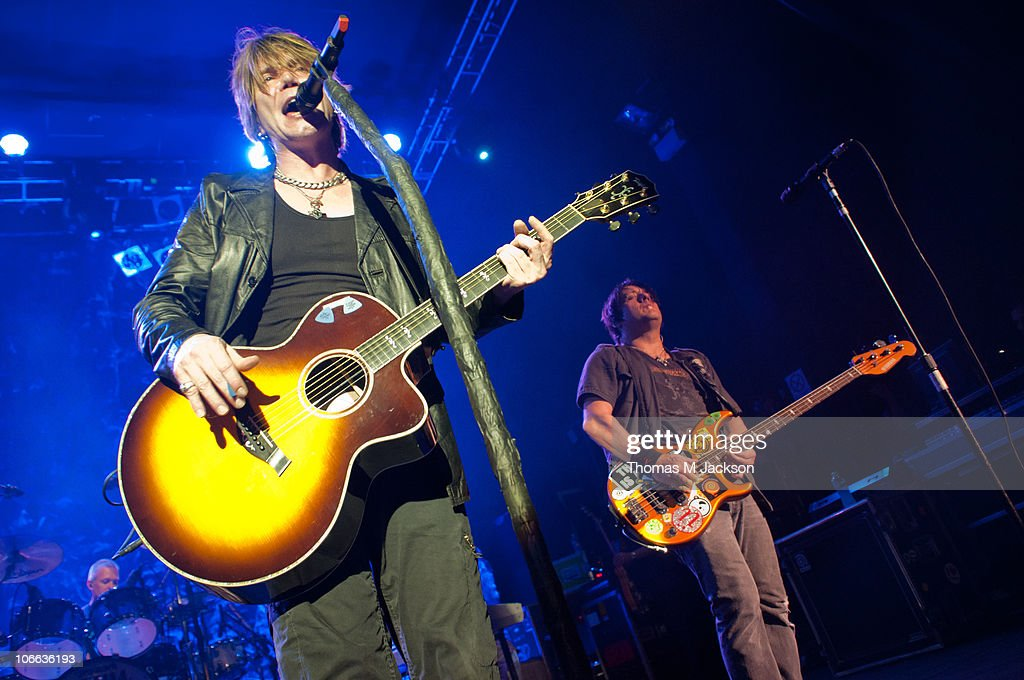 John Rzeznik and Roby Takac of the Goo Goo Dolls perform on stage at O2 Academy on November 8, 2010 in Newcastle upon Tyne, England.