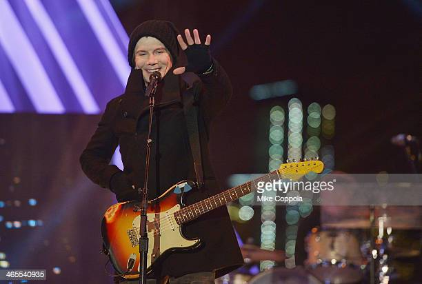 John Rzeznik of the rock band the Goo Goo Dolls perfoms at the Super Bowl Kickoff Spectacular at Liberty State Park on January 27 2014 in Jersey City...