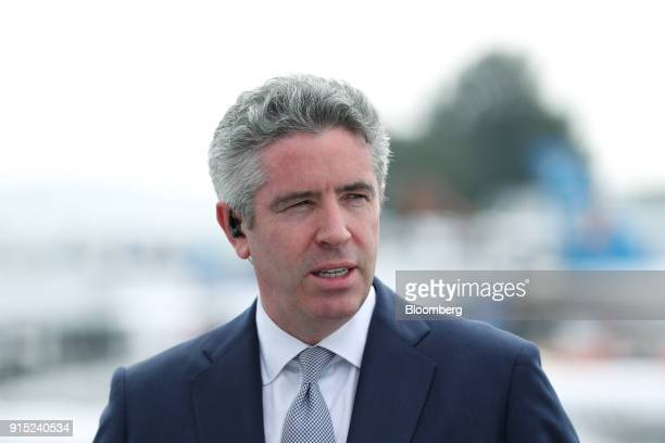 John S Slattery chief executive officer of commercial aviation at Embraer SA speaks during a Bloomberg Television interview during the Singapore...