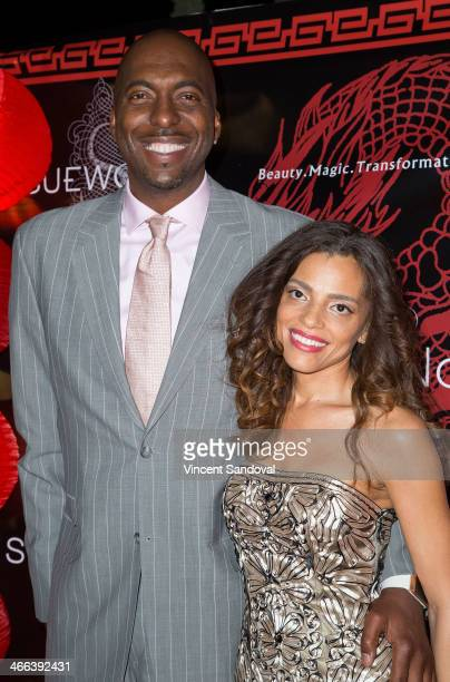 John Salley and Natasha Duffy attend Sue Wong hosts party celebrating The Chinese New Year Year of The Horse at The Cedars on January 31 2014 in Los...