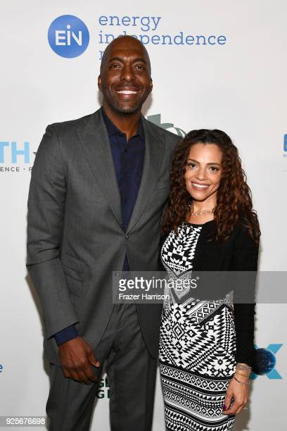 John Salley and Natasha Duffy attend the 15th Annual Global Green Pre Oscar Party at NeueHouse Hollywood on February 28 2018 in Los Angeles California