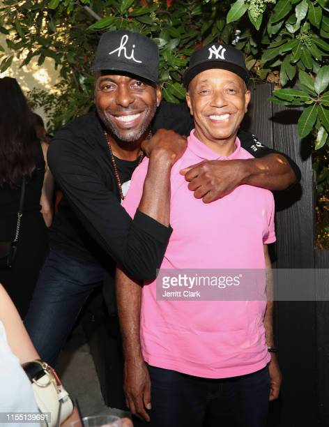 John Salley and Russell Simmons attend Gushcloud Los Angeles Opening Party at Gushcloud Studio on June 10 2019 in Studio City California