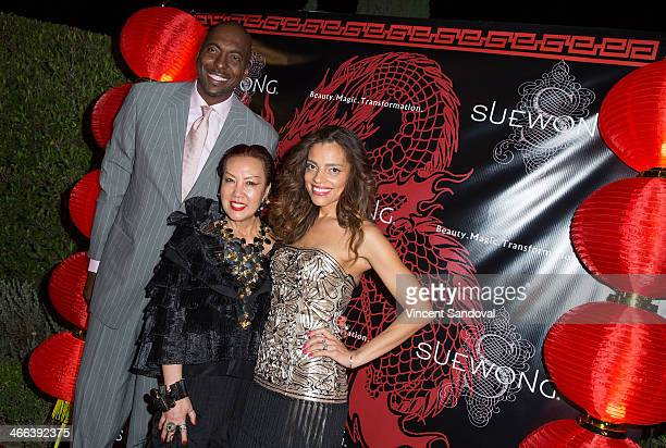 John Salley designer Sue Wong and Natasha Duffy attend Sue Wong hosts party celebrating The Chinese New Year Year of The Horse at The Cedars on...