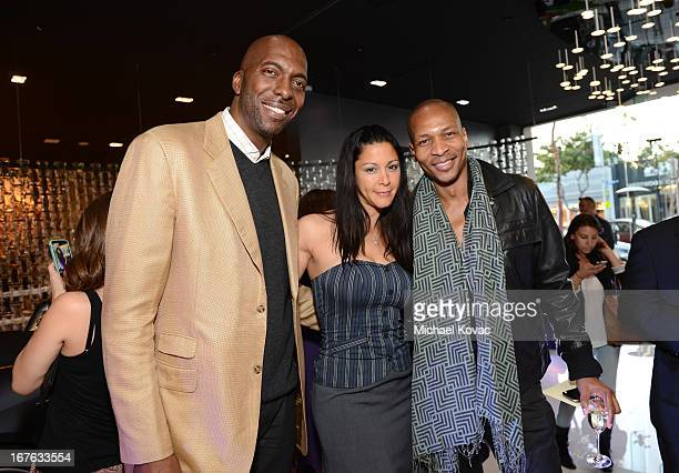 John Salley Nika La Rue and TV personality Bruce Reynolds attend the BritWeek Christopher Guy event with official vehicle sponsor Jaguar on April 26...
