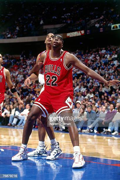 John Salley of the Chicago Bulls boxes out against Jayson Williams of the New Jersey Nets during a 1996 NBA Game at Brendan Byrne Arena in East...