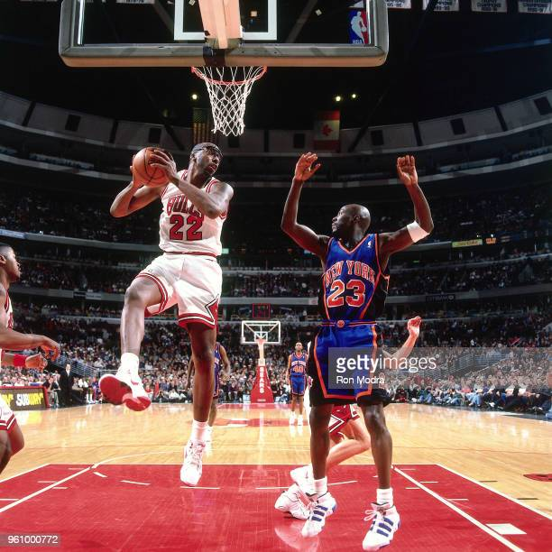 John Salley of the Chicago Bulls grabs the rebound against the New York Knicks on March 21 1996 at the United Center in Chicago Illinois NOTE TO USER...
