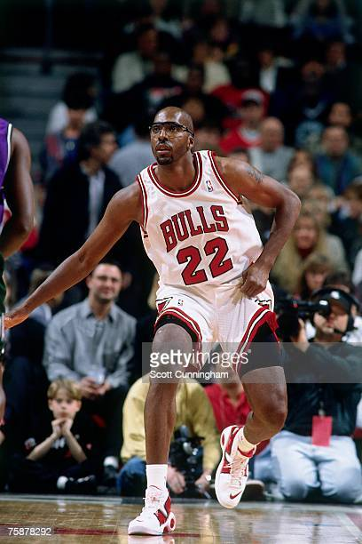 John Salley of the Chicago Bulls posts up during a 1996 NBA game at the United Center in Chicago Illinois NOTE TO USER User expressly acknowledges...