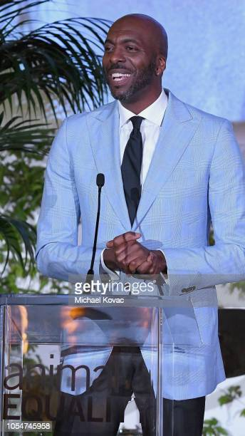 John Salley speaks onstage at the Animal Equality Inspiring Global Action Gala at The Beverly Hilton Hotel on October 27 2018 in Beverly Hills...