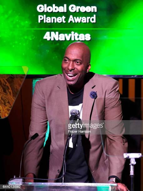 John Salley speaks onstage during the 14th Annual Global Green Pre Oscar Party at TAO Hollywood on February 22 2017 in Los Angeles California