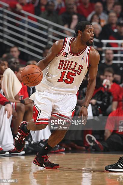 John Salmons of the Chicago Bulls drives the ball to the basket in Game Four of the Eastern Conference Quarterfinals against the Boston Celtics...