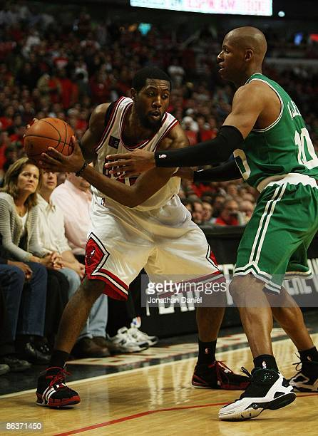 John Salmons of the Chicago Bulls is pressured by Ray Allen of the Boston Celtics in Game Six of the Eastern Conference Quarterfinals during the 2009...