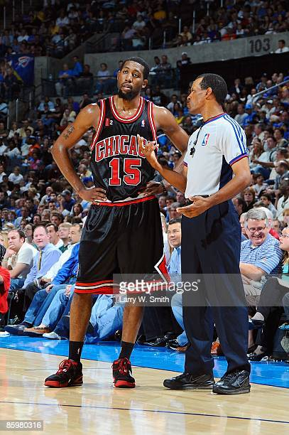 John Salmons of the Chicago Bulls listens to referee Eric Lewis during the game against the Oklahoma City Thunder on March 18 2009 at the Ford Center...