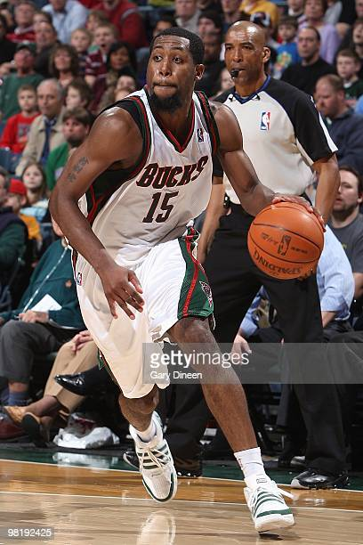 John Salmons of the Milwaukee Bucks drives against the Memphis Grizzlies during the game on March 28 2010 at the Bradley Center in Milwaukee...