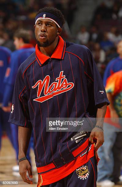 John Salmons of the Philadelphia 76ers warms up before the game with the Detroit Pistons at The Palace of Auburn Hills on January 15 2004 in Auburn...