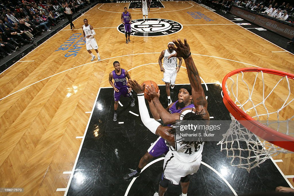 John Salmons #5 of the Sacramento Kings shoots against Gerald Wallace #45 of the Brooklyn Nets on January 5, 2013 at the Barclays Center in the Brooklyn borough of New York City.