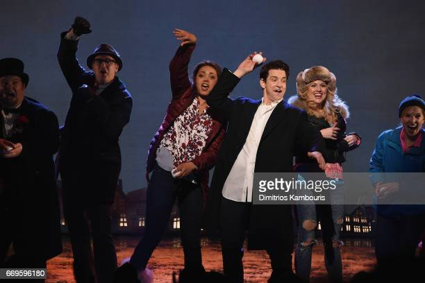 "John Sanders, Barrett Doss, Andy Karl and Rebecca Faulkenberry perform onstage at the ""Groundhog Day"" Broadway Opening Night at August Wilson Theatre..."