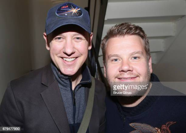 John Sanders who plays Ned Ryerson and James Corden pose backstage at the hit musical based on the film Groundhog Day on Broadway at The August...