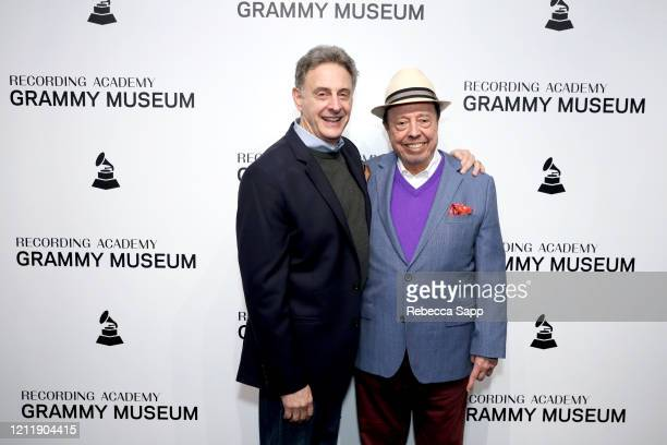 John Scheinfeld and Sergio Mendes attend Reel To Reel Sergio Mendes In The Key Of Joy at The GRAMMY Museum on March 11 2020 in Los Angeles California