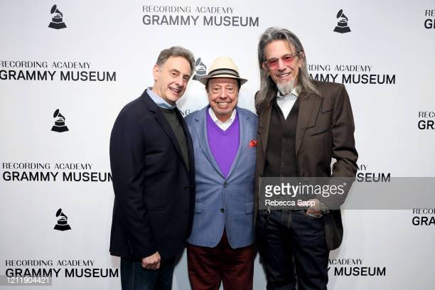 John Scheinfeld Sergio Mendes and Scott Goldman attend Reel To Reel Sergio Mendes In The Key Of Joy at The GRAMMY Museum on March 11 2020 in Los...