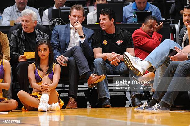 John Schnatter owner of Papa John's pizza chain attends a game between the Dallas Mavericks and the Los Angeles Lakers at Staples Center on April 4...