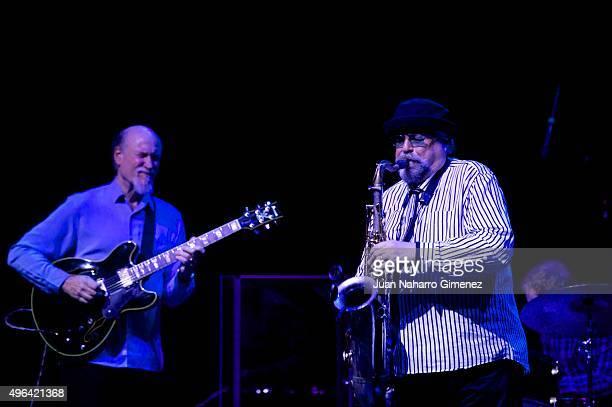 John Scofield and Joe Lovano of The John Scofield Joe Lovano Quartet perform on stage at Conde Duque on November 9 2015 in Madrid Spain