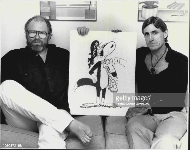 John Scott And Murray Ball Makers of 'Footrock Flats' at Hyde Park Motel Oxford St Darlinghurst today March 31 1987