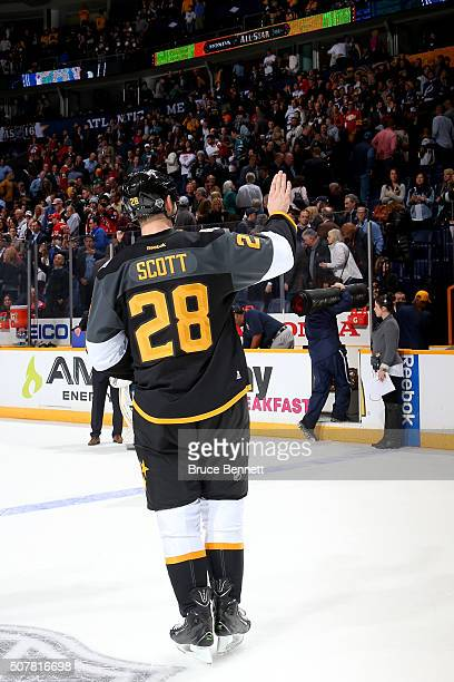 John Scott of the Arizona Coyotes celebrates after defeating the Atlantic Division AllStars during the 2016 Honda NHL AllStar Final Game between the...
