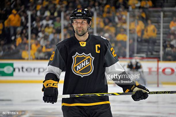 John Scott of the Arizona Coyotes looks on during the 2016 Honda NHL AllStar Final Game between the Eastern Conference and the Western Conference at...