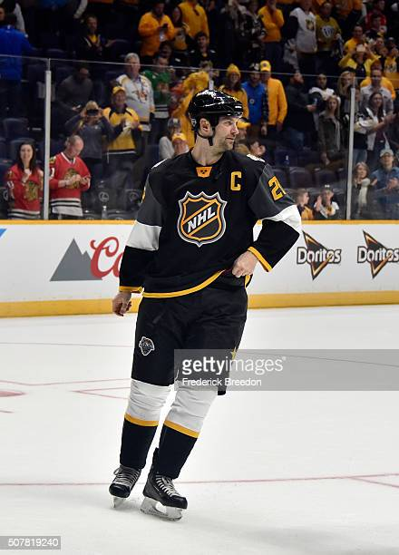 John Scott of the Arizona Coyotes reacts after the 2016 Honda NHL AllStar Final Game between the Eastern Conference and the Western Conference at...