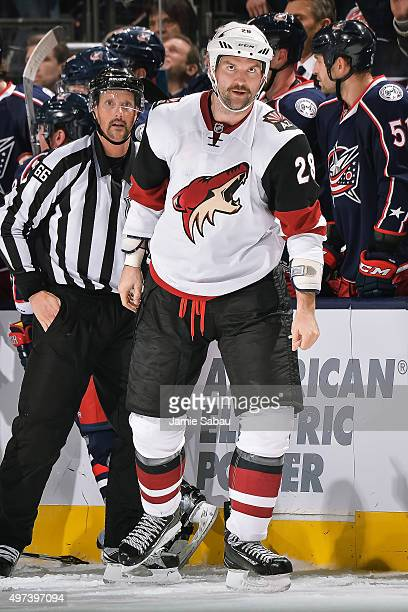 John Scott of the Arizona Coyotes skates to the penalty box against the Columbus Blue Jackets on November 14 2015 at Nationwide Arena in Columbus Ohio