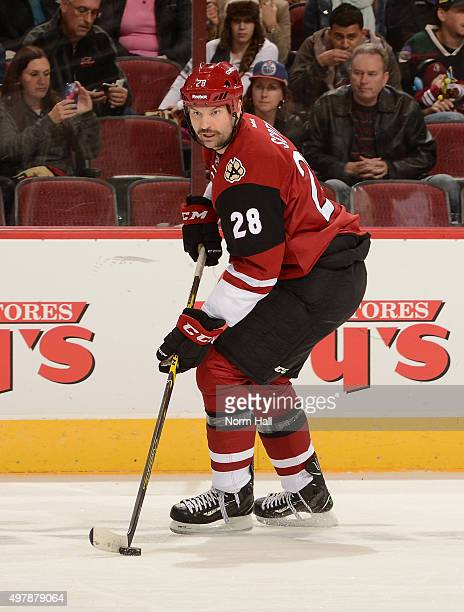 John Scott of the Arizona Coyotes skates with the puck against the Edmonton Oilers at Gila River Arena on November 12 2015 in Glendale Arizona