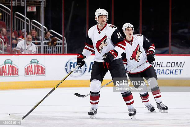 John Scott of the Arizona Coyotes white team in action during the Arizona Coyotes scrimmage game at Gila River Arena on September 24 2015 in Glendale...