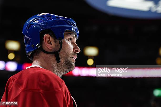 John Scott of the Montreal Canadiens looks on during the warmup prior to the NHL game against the Florida Panthers at the Bell Centre on April 5,...