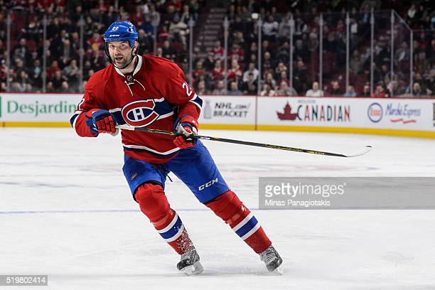 John Scott of the Montreal Canadiens skates during the NHL game against the Florida Panthers at the Bell Centre on April 5 2016 in Montreal Quebec...