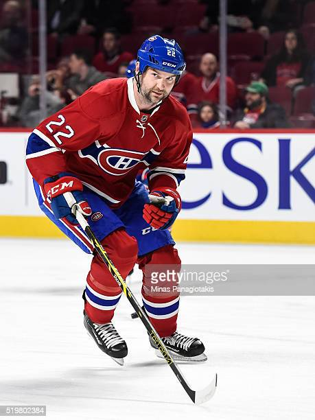 John Scott of the Montreal Canadiens skates during the warmup prior to the NHL game against the Florida Panthers at the Bell Centre on April 5 2016...