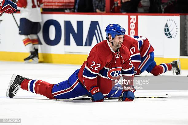 John Scott of the Montreal Canadiens stretches during the warmup prior to the NHL game against the Florida Panthers at the Bell Centre on April 5...
