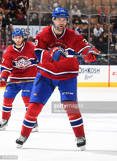 John Scott of the St John's IceCaps directs traffic against the Toronto Marlies during game action on March 26 2016 at Air Canada Centre in Toronto...
