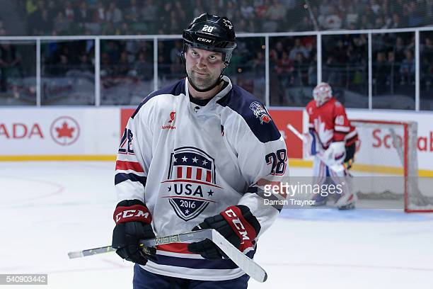 John Scott of USA skates to the bench during the match between Team USA and Team Canada at Rod Laver Arena on June 17 2016 in Melbourne Australia