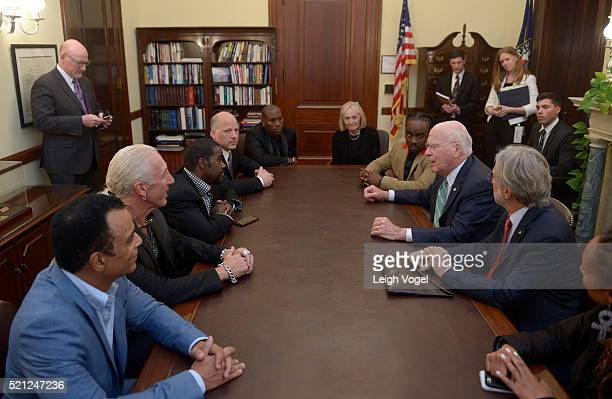 John Secada Dee Snider Rodney Jerkins Marcelle Leahy Wale Senator Patrick Leahy Neil Portnow and Wendi Cherry meet during GRAMMYs on the Hill...