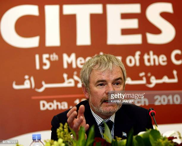 John Sellar Chief Enforcement Officer of CITES Secretariat attends a press conference in Doha on March 16 2010 The UNadministered body counts 175...