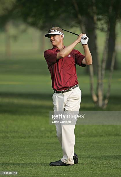 John Senden hits from the 3rd fairway in the first round of the 2005 BC Open at EnJoi Golf Club in Endicott New York Thursday July 14 2005