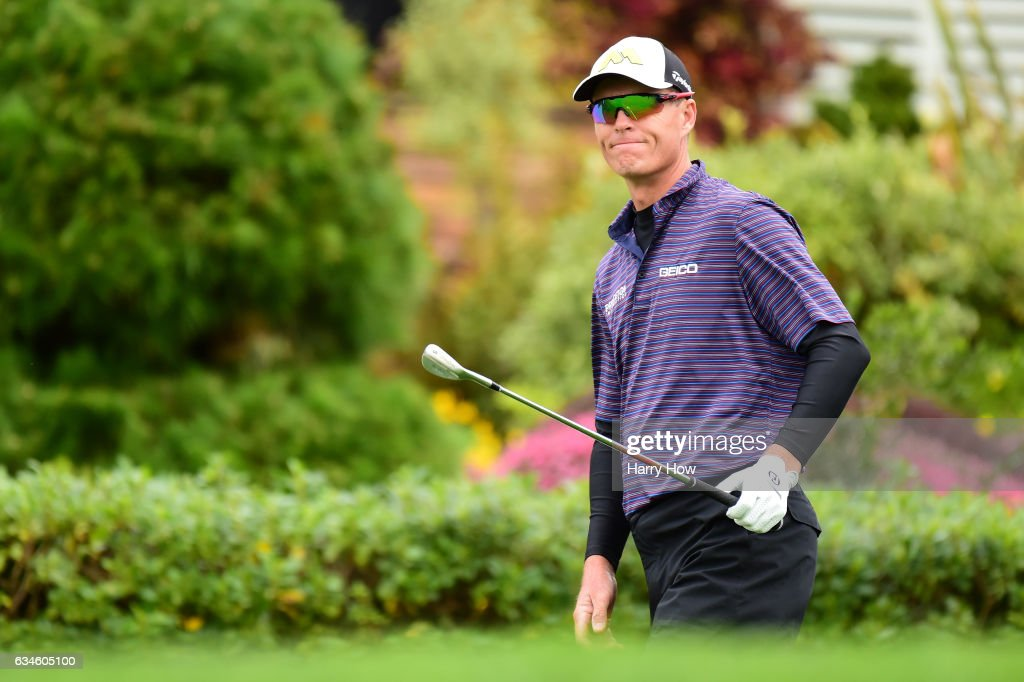 John Senden of Australia chips from the rough on the first hole during Round Two of the AT&T Pebble Beach Pro-Am at Pebble Beach Golf Course on February 10, 2017 in Pebble Beach, California.