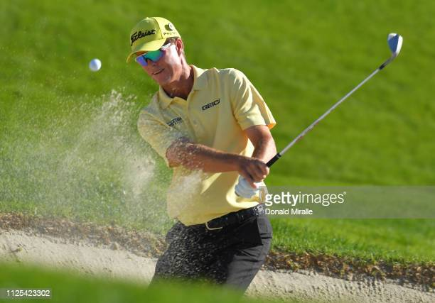 John Senden of Australia plays a shot from a bunker on the 11th hole on the South Course during the final round of the the 2019 Farmers Insurance...