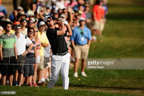 John Senden of Australia plays a shot on the 18th fareway during the final round of the Valspar Championship at Innisbrook Resort and Golf Club on...