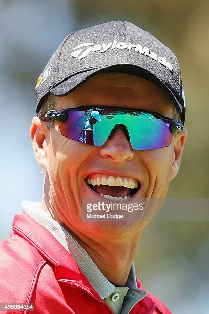 John Senden of Australia reacts after an approach shot during day three of the 2015 Australian Masters at Huntingdale Golf Club on November 21, 2015...
