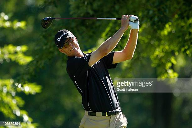 John Senden of Australia watches his tee shot on the 11th hole during the second round of The Barclays at the Ridgewood Country Club on August 27...