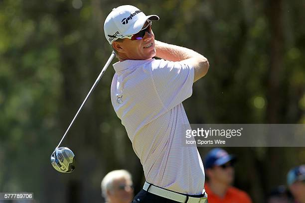 John Senden tees off during the second round of the Valspar Championship at Innisbrook Resort - Copperhead in Palm Harbor, Florida.